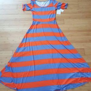 NWT LuLaRoe orange blue striped Ana dress